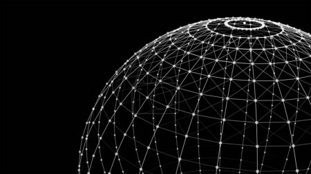 Photo for Wire structure of sphere. Digital computer data and network connection lines and spheres in futuristic technology concept on black background. 3d abstract graphic design illustration - Royalty Free Image