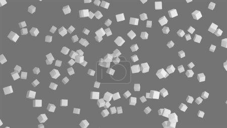Eiswürfel. geometrische Form in der Luft in architektonischer Struktur auf grauem Hintergrund, 3d abstrakte Illustration