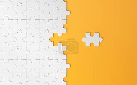 Rompecabezas, textura de patrón con espacio en la estrategia y la solución del concepto de asociación de éxito de negocio en equipo sobre fondo naranja. 3d ilustración abstracta