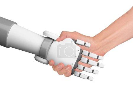 Photo pour L'homme et le robot de poignée de main avec un espace vide sur fond blanc, intelligence artificielle, Ia, en technologie numérique futuriste et le concept d'entreprise, illustration 3d - image libre de droit