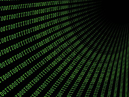 Photo for 01 or binary numbers on the computer screen on monitor matrix background, Digital data password code in hacker or safety security technology concept. Abstract illustration - Royalty Free Image