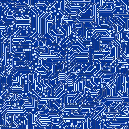 Photo for Blue circuit board seamless pattern texture. High-tech background in digital computer technology concept. Abstract illustration. - Royalty Free Image