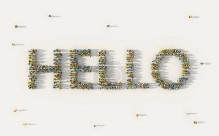 Photo pour Grand groupe de personnes formant Bonjour lettrage texte dans les médias sociaux et concept communautaire sur fond blanc. 3ème signe d'illustration de foule d'en haut réunis - image libre de droit