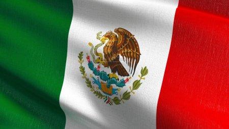 Photo pour Drapeau national de Mexico dans le vent isolé. Conception abstraite patriotique officiel. illustration de rendu 3D d'agitant signe symbole. - image libre de droit