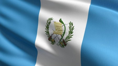 Foto de Bandera Nacional de Guatemala soplando en el viento aislado. Diseño abstracto patriótico oficial. Ilustración de Render 3D de agitar símbolo signo. - Imagen libre de derechos