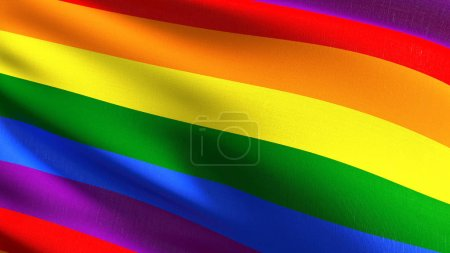 Photo pour Drapeau gay, Lgbt ou drapeau arc-en-ciel. Symbole de fierté dans le vent isolé. Conception abstraite patriotique officiel. illustration de rendu 3D d'agitant signe symbole. - image libre de droit