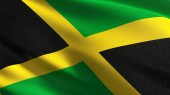 Jamaica national flag blowing in the wind isolated. Official pat