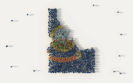 Photo for Large group of people forming Idaho flag map in The United States of America, USA, in social media and community concept on white background. 3d sign symbol of crowd illustration from above - Royalty Free Image
