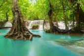 Huay Mae Khamin Waterfall with trees. Nature landscape of Kancha