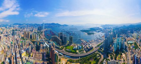 Photo for Aerial top view of Hong Kong Downtown, republic of china. Financial district and business centers in smart urban city in Asia. Skyscrapers and high-rise modern buildings at noon. - Royalty Free Image