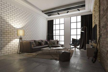 3D-Rendering Luxus und modernes Wohnzimmer mit Backstein-Dekor