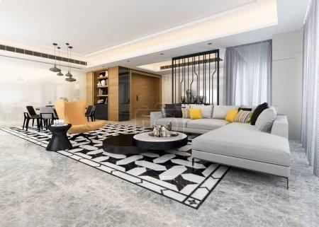 Foto de 3D de procesamiento moderno comedor y salón con una decoración de lujo - Imagen libre de derechos