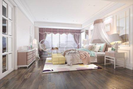 Photo pour 3d rendant belle chambre d'enfant vintage rose - image libre de droit