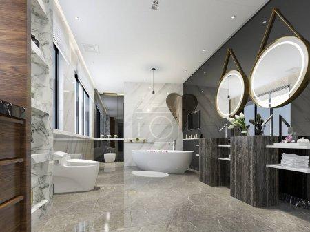 3d rendering modern bathroom with luxury tile decor