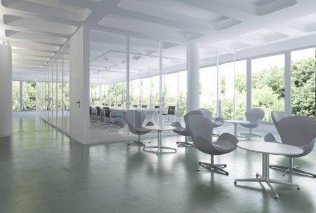 Photo pour 3d rendu salle de réunion d'affaires sur immeuble de bureaux - image libre de droit