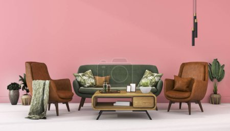 Photo for 3d rendering mock up scandinavian pink wall with green leather decor in living room - Royalty Free Image