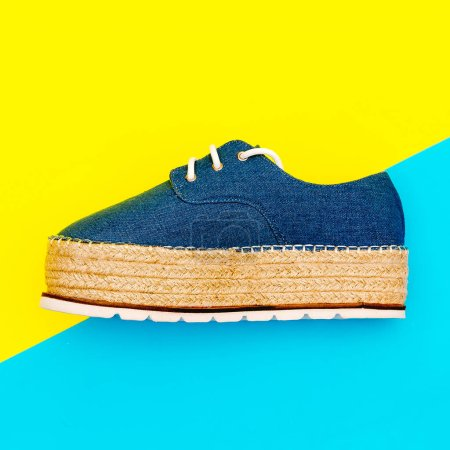 Jeans shoes on a platform. Fashion summer trend