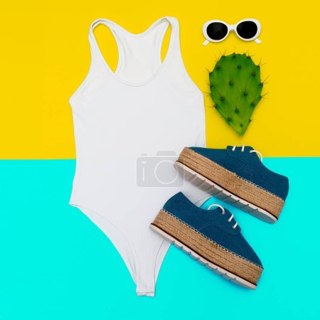 Photo for Beach stylish look. Flat lay. White swimsuit and accessories. Beach vibes - Royalty Free Image