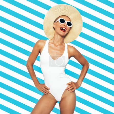 Stylish Beach Lady. Glamorous retro chic. White swimsuit and accessories