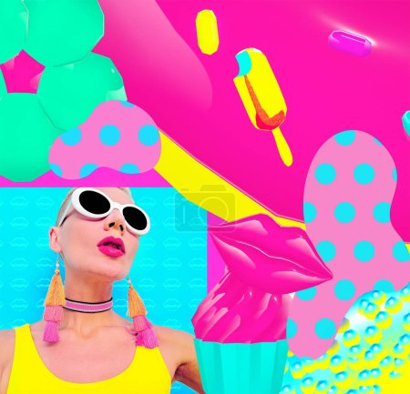 Stylish Candy girl in trendy summer accessories. Sunglasses, choker, earrings. Fashion colorful collage art