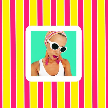 Colorful Lady in stylish beach accessories. Sunglasses, earrings, choker. Summer fashion look