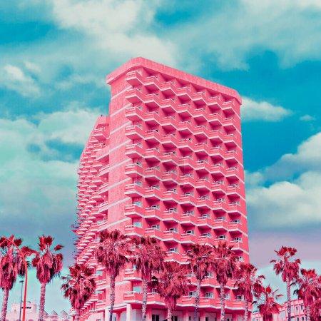 Fashion hotel. Pink colorful minimal art. Tropical dreams