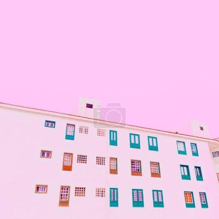 Photo pour Bâtiment minimaliste couleur pastel art. Ambiances minimales - image libre de droit