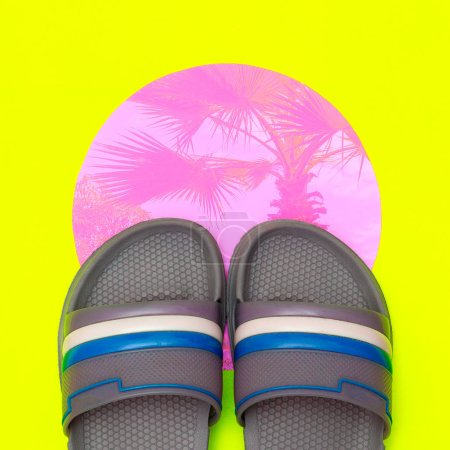 Photo for Flip flops. Beach vibes. Minimal flat lay art - Royalty Free Image