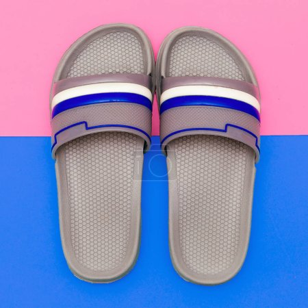 Photo for Flip flops. Minimal flat lay art - Royalty Free Image