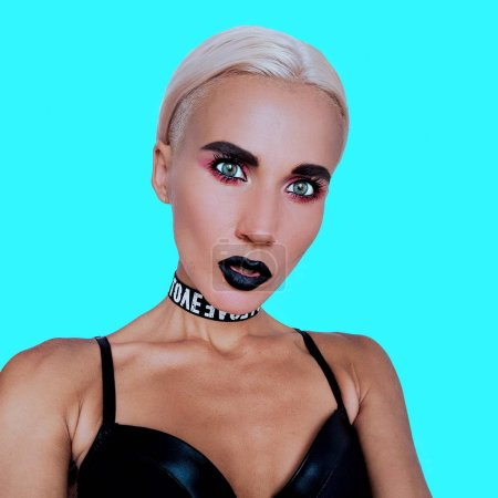 Photo for Fashion lady swag Trendy make up style and stylish accessories choker - Royalty Free Image