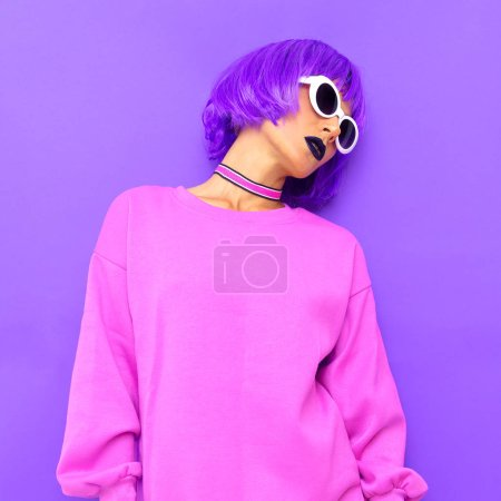 Stylish girl with purple hair. Colorful fashion style