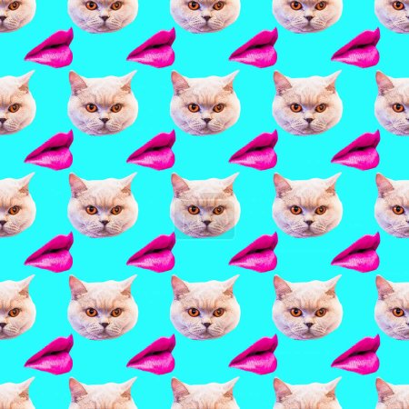 Photo for Seamless minimal  pattern. Kitty and lips. Use for t-shirt, greeting cards, wrapping paper, posters, fabric print. Collage fun art - Royalty Free Image