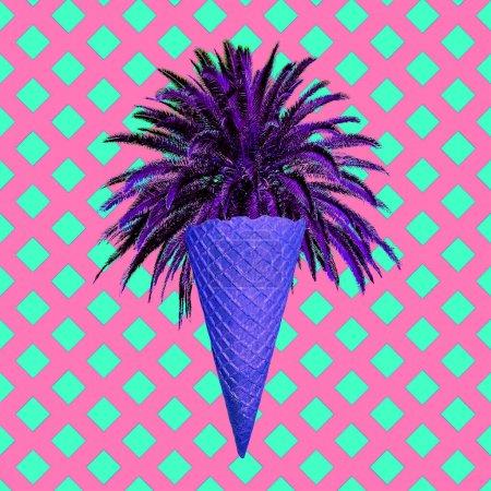 Foto de Collage de arte minimalista contemporáneo. Vibraciones de verano de playa. Concepto de la cultura Zine - Imagen libre de derechos