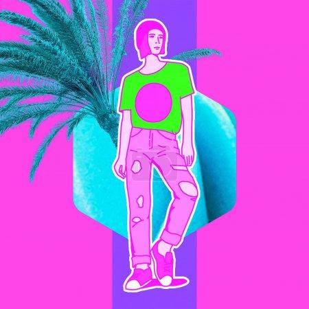 Photo pour Collage d'art contemporain. Les filles veulent passer des vacances. Mélangez illustrations et photos Zine tendance culturelle - image libre de droit
