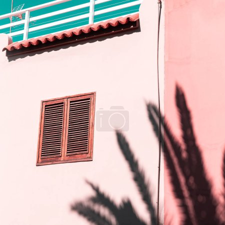 Architecture and palm shadow. Canary Islands. Travel concept ide