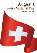 Flag of Switzerland Swiss Confederation Swiss National Day August 1 Template for award design an official document with the flag of Switzerland Bright colorful vector illustration