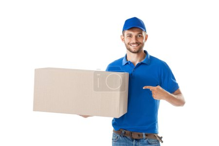 Photo for Smiling young courier holding parcel box isolated on white background. Delivery concept - Royalty Free Image