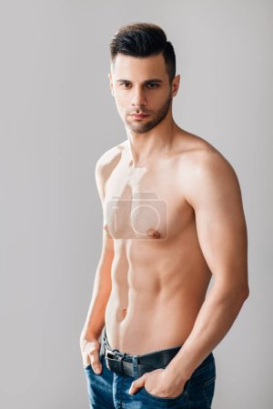 Photo for Sexy muscular shirtless man posing in studio. Male beauty - Royalty Free Image