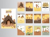 Funny animal calendar 2019 designThe year of the pig monthly cards templatesSet of 12 monthMonthly kidsThai cave rescue Vector illustrations