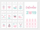 Funny animal calendar 2019 designThe year of the pig monthly cards templatesSet of 12 monthMonthly kidsVector illustrations