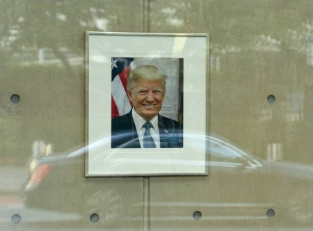 Photo pour New York, Usa - 26 mai 2018 : Portrait de Donald Trump à la Mission américaine auprès des Nations Unies à New York. - image libre de droit