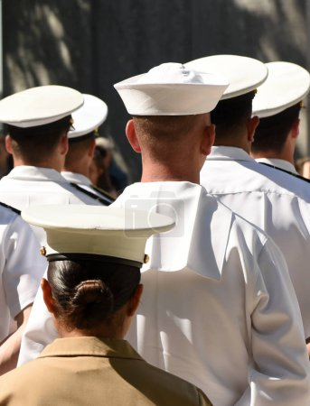 Photo for US Navy sailors from the back. US Navy army. - Royalty Free Image