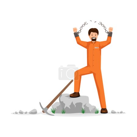 Unchained prisoner flat vector illustration. Man in orange prison uniform, hard labourer, rioting, conquering freedom. Male captive on correctional labour tearing shackles chain apart