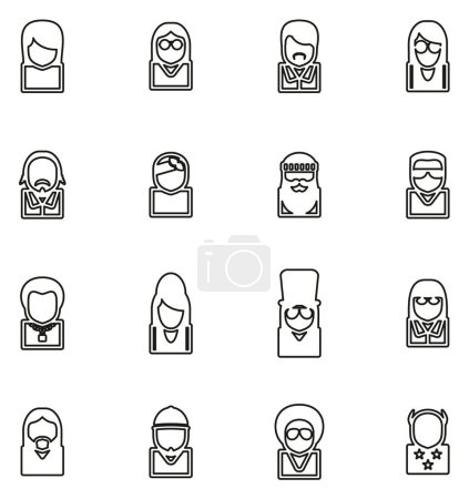 Illustration pour Avatar Icônes Musiciens célèbres Set 2 Ligne mince vectoriel Illustration Set - image libre de droit