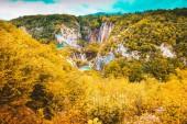 beautiful lakes landscape fall season - Plitvice Lakes - Croatia travel destination