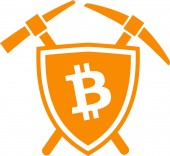Bitcoin mining logo symbol Shield emblem icon with cryptocurrency sign on it and two pickaxe behind it Flat vector illustration logotype isolated