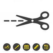 Scissors with cut lines isolated on white background Vector illustration