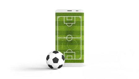 Photo pour Football mobile. Terrain de football sur l'écran du smartphone et le ballon. Concept de vente de billets en ligne. Rendu 3d . - image libre de droit