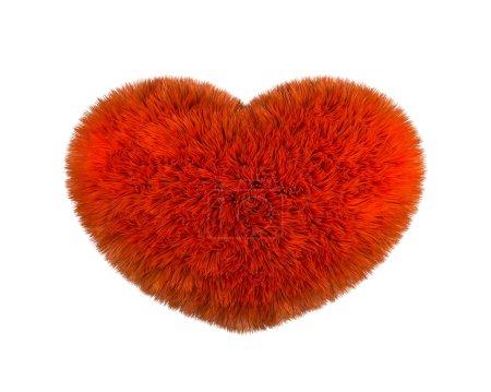 Photo pour Coeur rouge moelleux. Coeur pelucheux poilu sur fond blanc. Cœur rouge moelleux oreiller doux ou coussin pour l'amour de la Saint-Valentin. Rendu 3d - image libre de droit