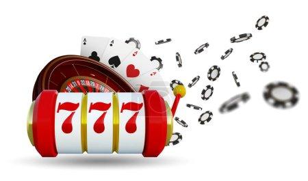 Photo pour Roue de roulette arrière-plan Casino avec cartes à jouer, dés et jetons. Casino en ligne table de poker concept design. Vue du dessus des dés blancs et des jetons sur fond bleu. Panneau de casino. Illustration 3d - image libre de droit